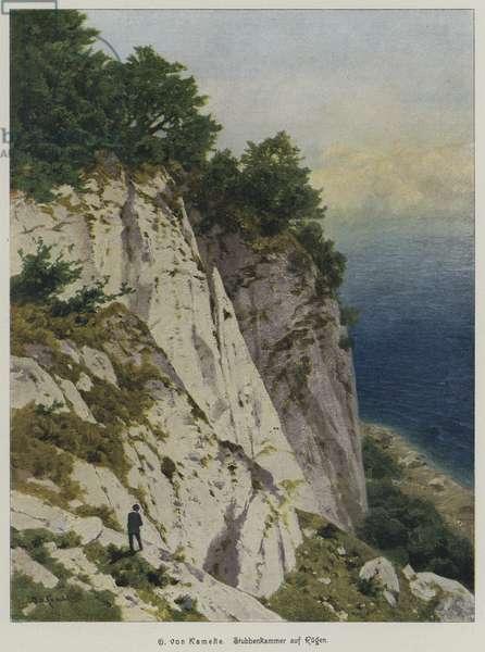 Chalk cliffs of Stubbenkammer, Rugen, Germany (coloured engraving)