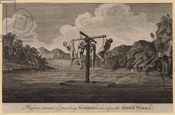 Russian manner of punishing Robbers who infest the River-Wolga (engraving)