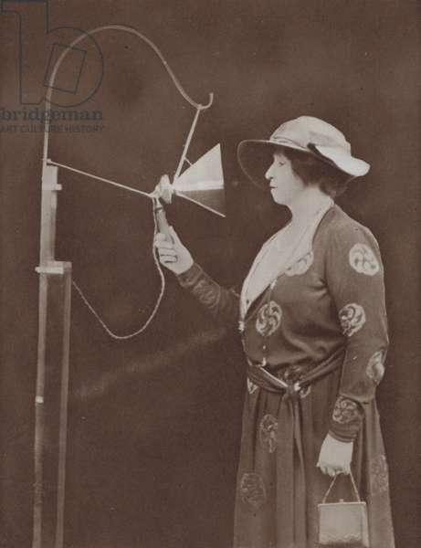 Australian opera singer Dame Nellie Melba making her first radio broadcast, Chelmsford, Essex, 1920 (b/w photo)