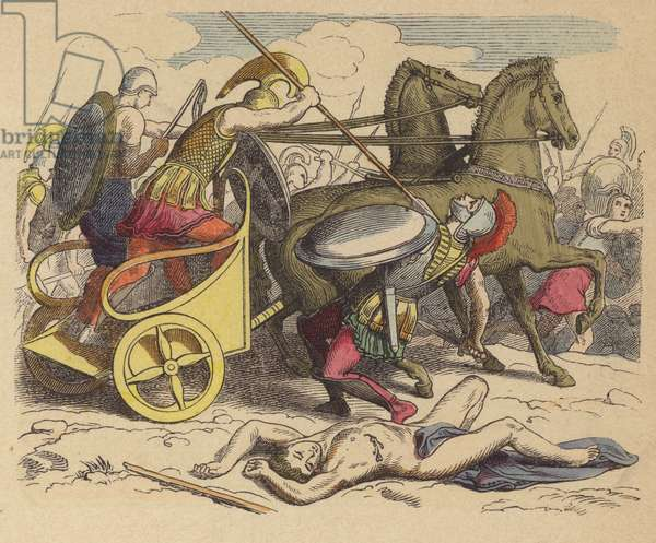 Ancient Greek war chariot (coloured engraving)