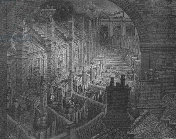Londres, Vue Prise D'Un Chemin De Fer Par-Dessus Les Toits (engraving)
