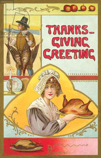 Thanks-Giving Greeting (colour litho)