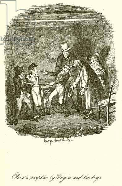 Oliver's Reception by Fagin and the Boys (engraving)