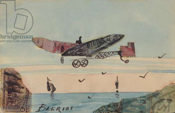 Depiction of a monoplane designed by French aviator Louis Bleriot, the first man to fly over the English Channel (colour litho)