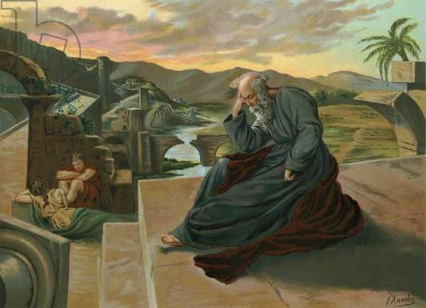 Jeremiah lamenting the disgrace of Jerusalem