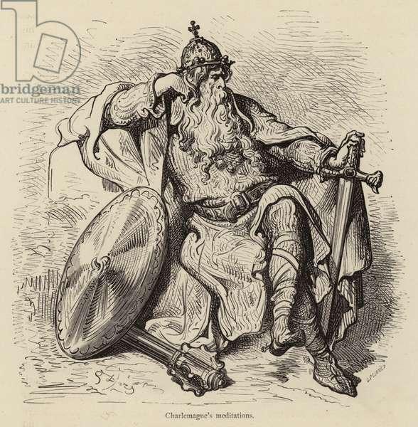 Charlemagne's meditations (engraving)