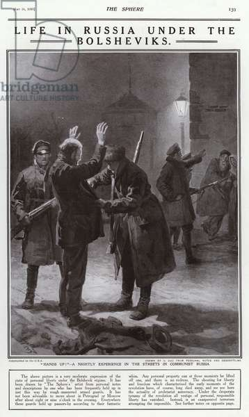 Life under Bolshevik rule in Russia: Red Guards searching a man out on the streets at night (litho)
