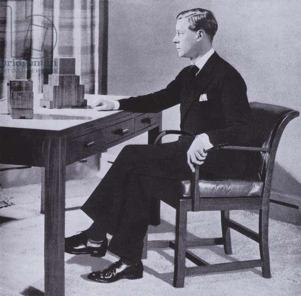 Edward VIII making his first radio broadcast as king, 1936 (b/w photo)