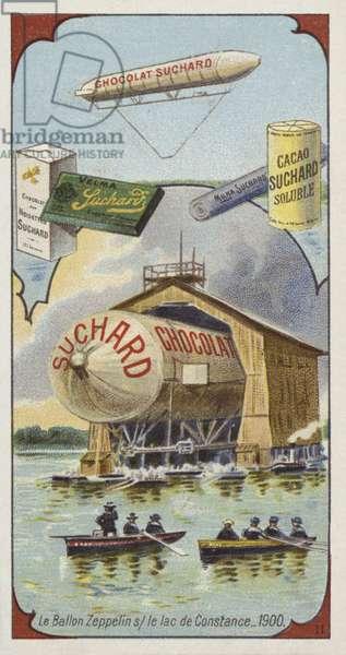 The airship Zeppelin on Lake Constance, 1900 (chromolitho)