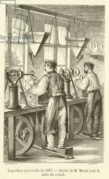 Exposition universelle de 1867, Atelier de M Monot pour la taille du cristal (engraving)