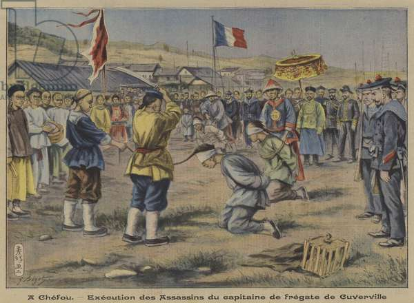 Execution of the murderers of the captain of a French frigate at Chefoo, China (colour litho)