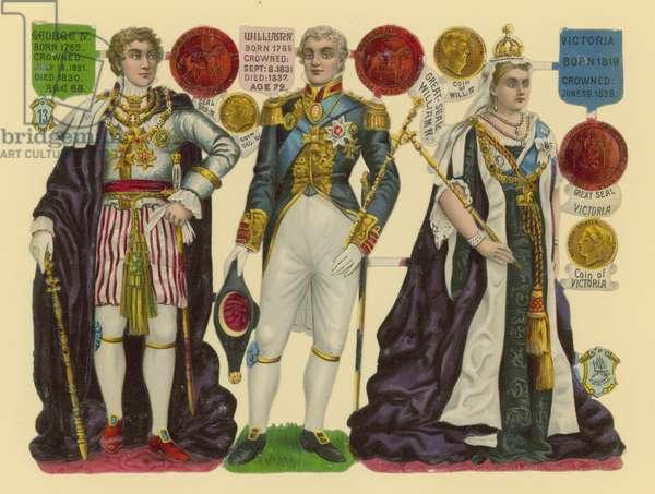 Victorian scrap: King George IV, King William IV, Queen Victoria