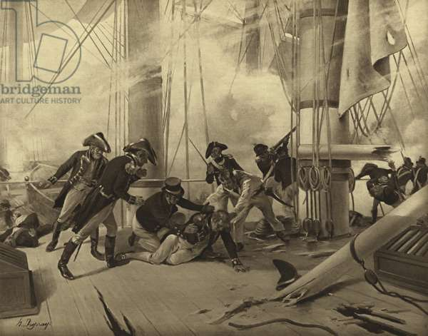 Battle of Trafalgar, 1805 (gravure)
