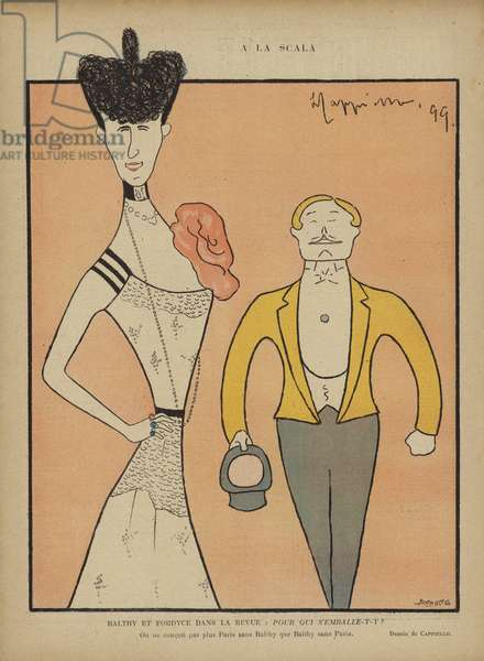 Balthy and Fordyce, Illustration for Le Rire (colour litho)