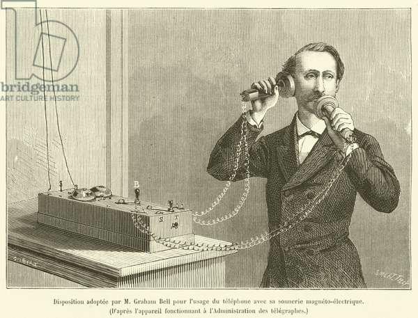 Disposition adoptee par M Graham Bell pour l'usage du telephone avec sa sonnerie magneto-electrique (engraving)