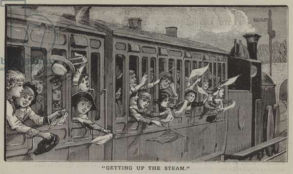 Getting up the steam: a group of city children going on a summer trip to the countryside (engraving)