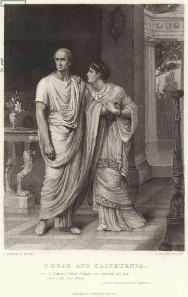 Caesar and Calphurnia, Julius Caesar, Act II, Scene II (engraving)