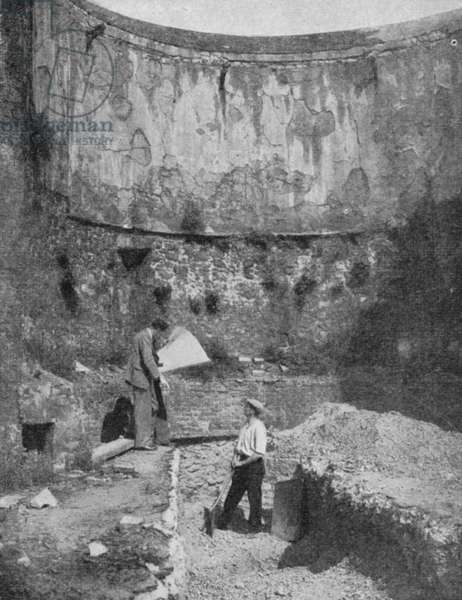 Bastion of the historic London Wall, found at Cripplegate, during excavations after WW2 (b/w photo)