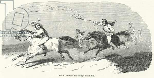 Arrest of a messenger of Josip Jelacic, Ban of Croatia, Revolution of 1848 (engraving)