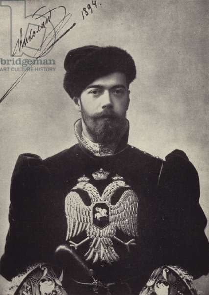 The Tsar in Old Russian Court Dress (b/w photo)