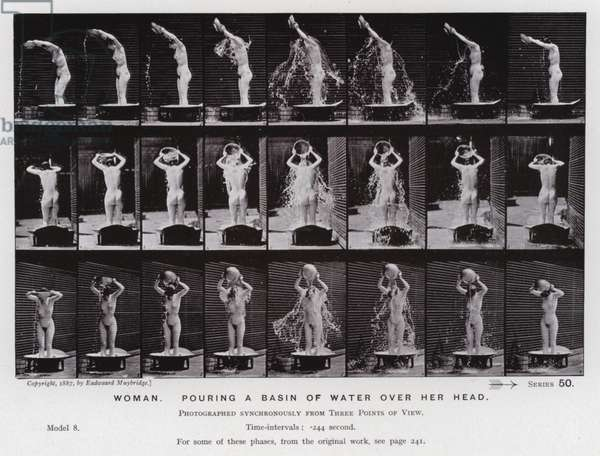 The Human Figure in Motion: Woman, poring a basin of water over her head (b/w photo)