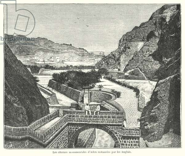 The Cisterns of Tawila, Aden, restored by the British (engraving)