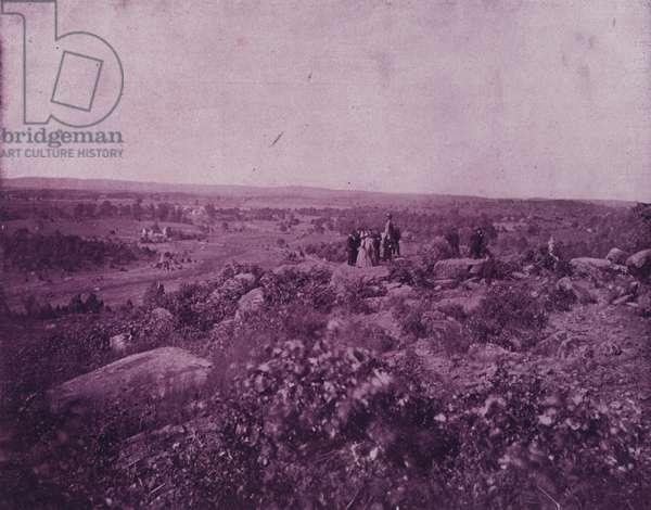 Round Top, overlooking the battle-field of Gettysburg (b/w photo)