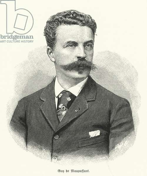 Guy de Maupassant, French short story writer (litho)