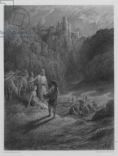Geraint and Enid in the Meadow (engraving)