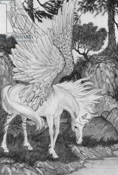 Pegasus had been seen near the Fountain of Pirene (litho)