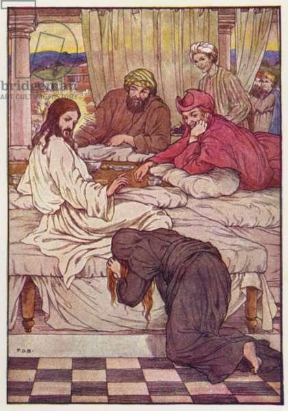 Jesus and Mary Magdalene (colour litho)