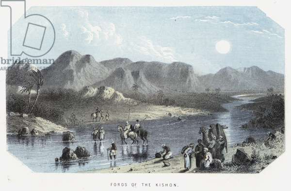 Fords of the Kishon (coloured engraving)