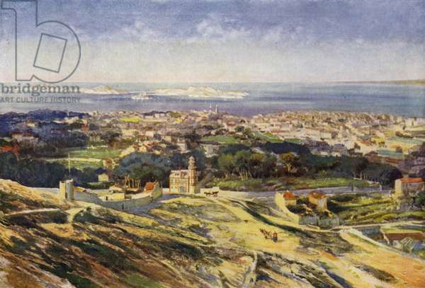 A View of Marseilles and the Mediterranean (colour litho)