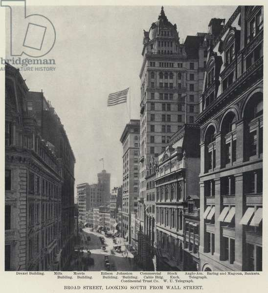 Broad Street, looking South from Wall Street (b/w photo)