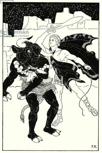 There ensued the most awful fight between Thesus and the Minotaur that ever happened (litho)