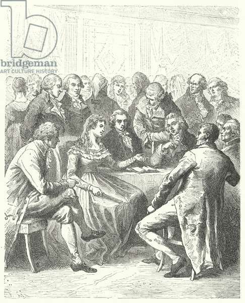 Madame Roland and the Girondins, French Revolution (engraving)