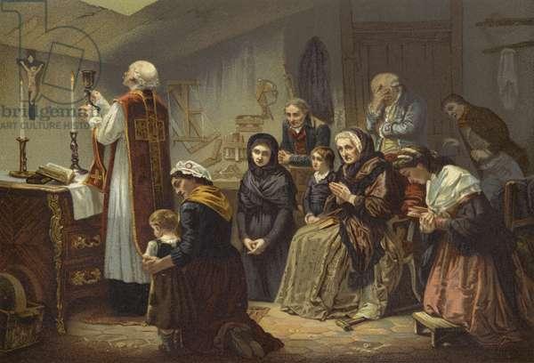 A Mass under the Terror, France, 1790s (colour litho)