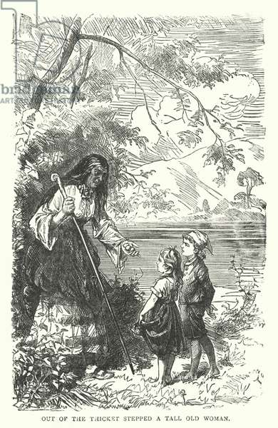 Out of the Thicket stepped a Tall Old Woman (engraving)