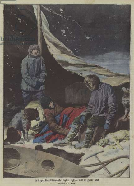 The tragic end of Captain Scott's expedition to the South Pole (colour litho)