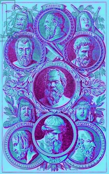 Historians, Philosophers and Dramatists of Ancient Greece, illustration from 'The Illustrated History of the World', published c.1880 (digitally enhanced image)