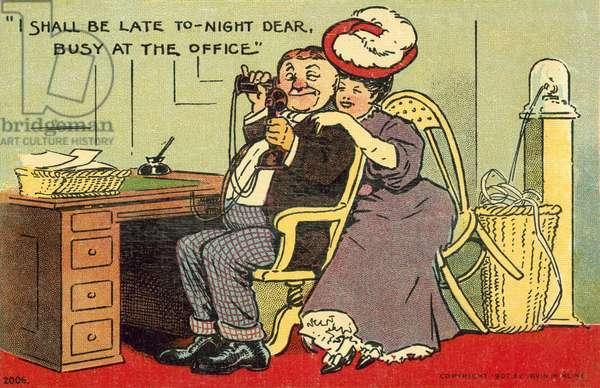 Man flirting with his secretary (colour litho)