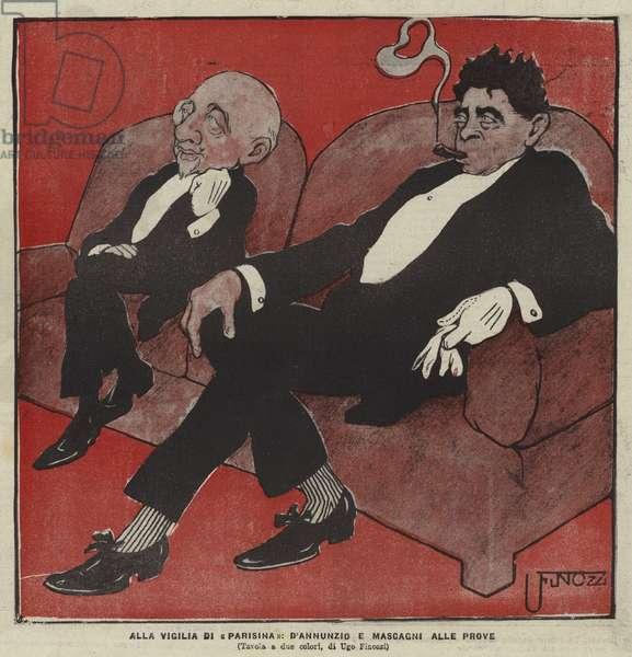 Gabriele D'Annunzio and Pietro Mascagni, composers of the opera Parisina (colour litho)