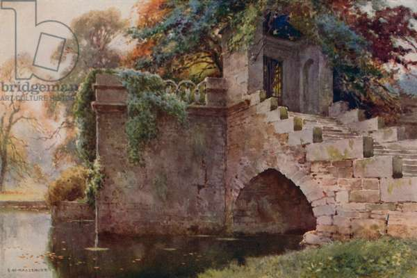 Queen Mary's Bower, Chatsworth (colour litho)
