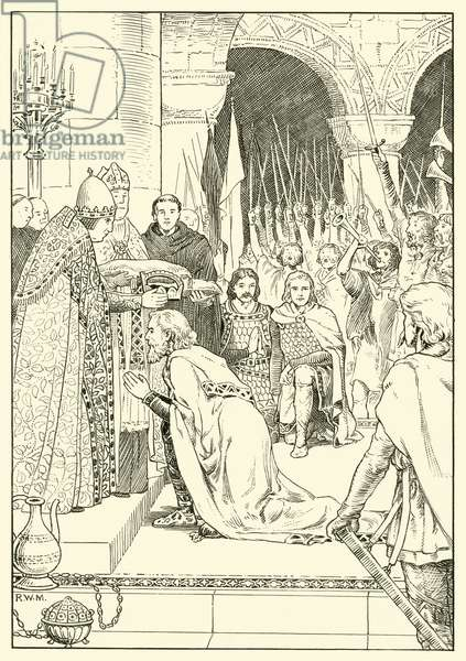 Charlemagne crowned at St Peters (ink on paper)