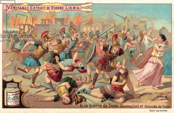 The destruction and burning of Troy (chromolitho)