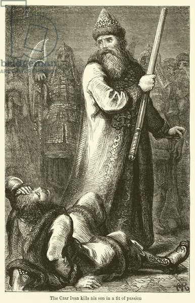 The Czar Ivan kills his son in a fit of passion (engraving)