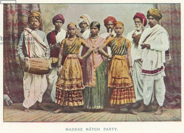 Indian Natives: Madras Natch Party (coloured photo)