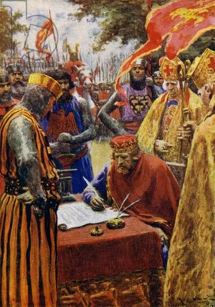 King John and Magna Carta (colour litho)