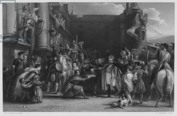 The King at Holyrood, from the picture in the Royal Collection (engraving)