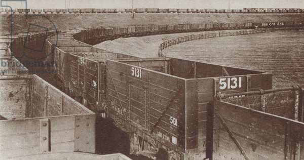 Line of empty coal trucks during the strike by British coal miners, 1926 (b/w photo)